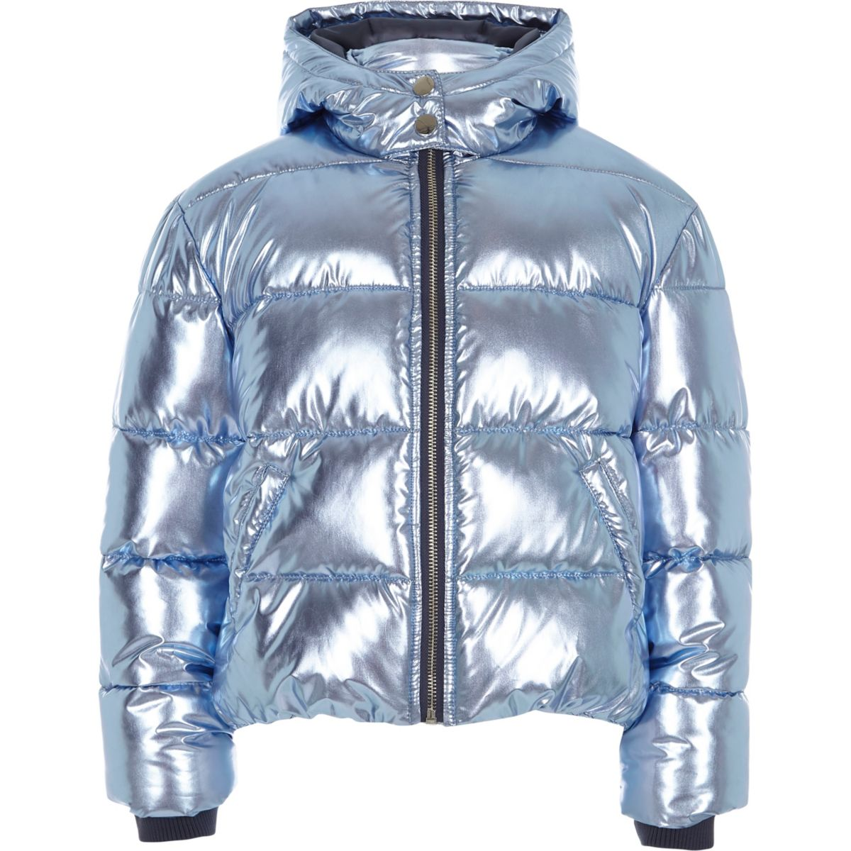 Girls blue foil hooded puffer jacket - Jackets - Coats & Jackets ...