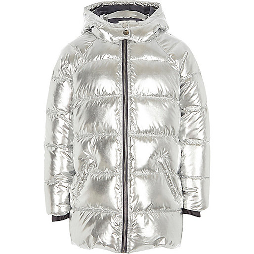 Girls silver foil hooded puffer coat