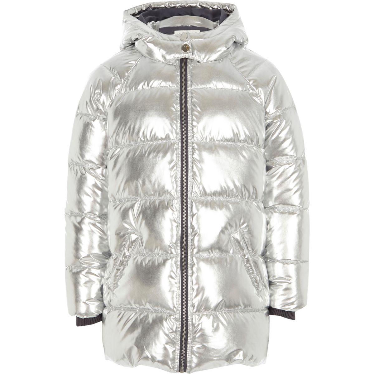 Girls silver foil hooded puffer coat