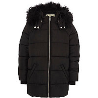 Girls black faux fur hooded puffer jacket