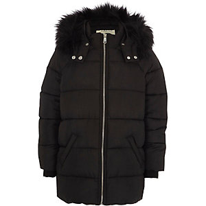 Girls black fur trim hooded puffer jacket