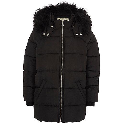 Girls black faux fur hooded puffer jacket
