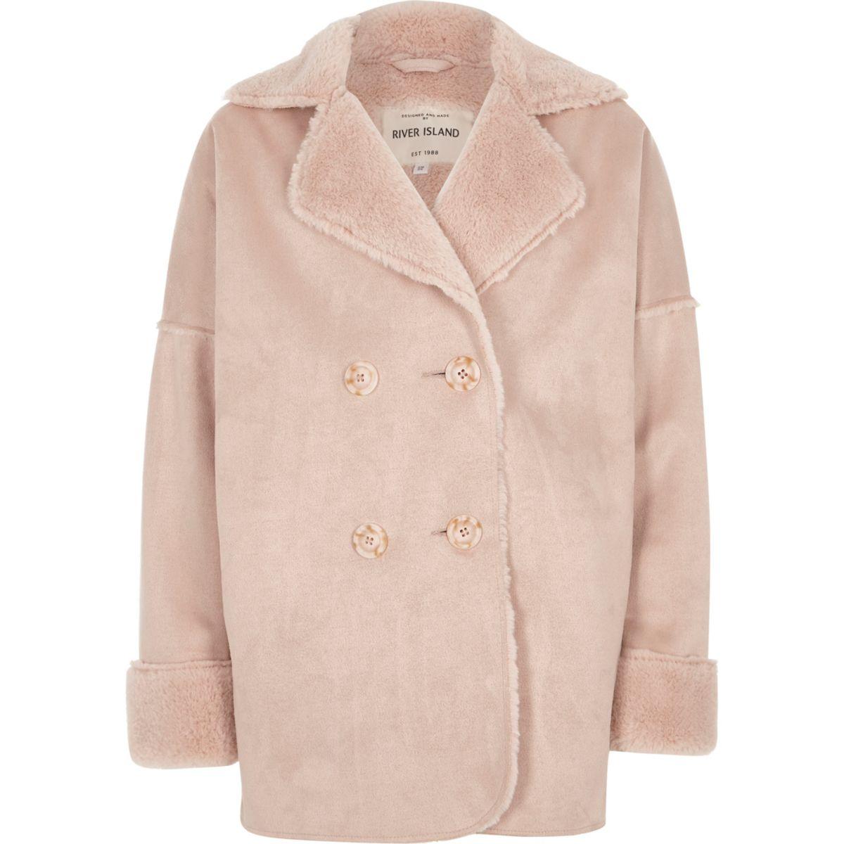 Girls pink faux shearling coat