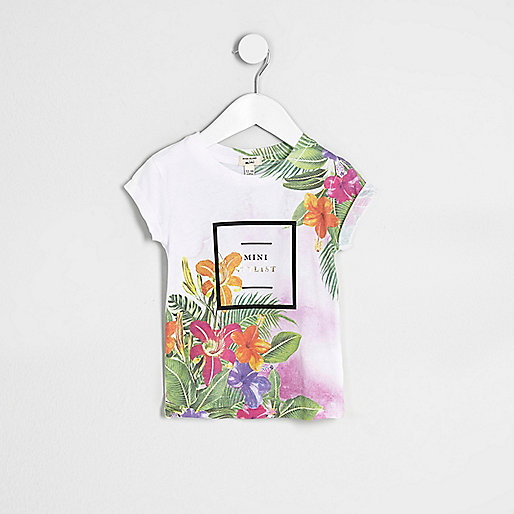Mini girls tropical 'mini stylist' T-shirt