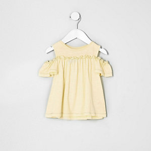 Mini girls yellow cold shoulder frill top