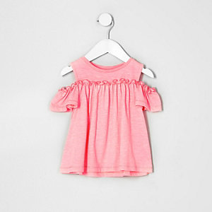 Mini girls pink cold shoulder frill top