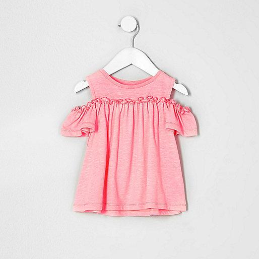 Mini girls pink cold shoulder frill top