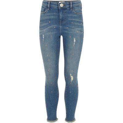 Amelie Blauwe skinny jeans met studs voor meisjes