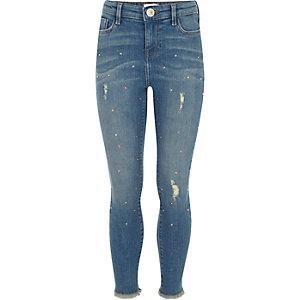 Amelie - Blauwe skinny jeans met studs voor meisjes