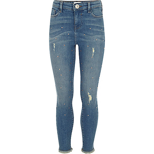 Girls blue studded skinny Amelie jeans