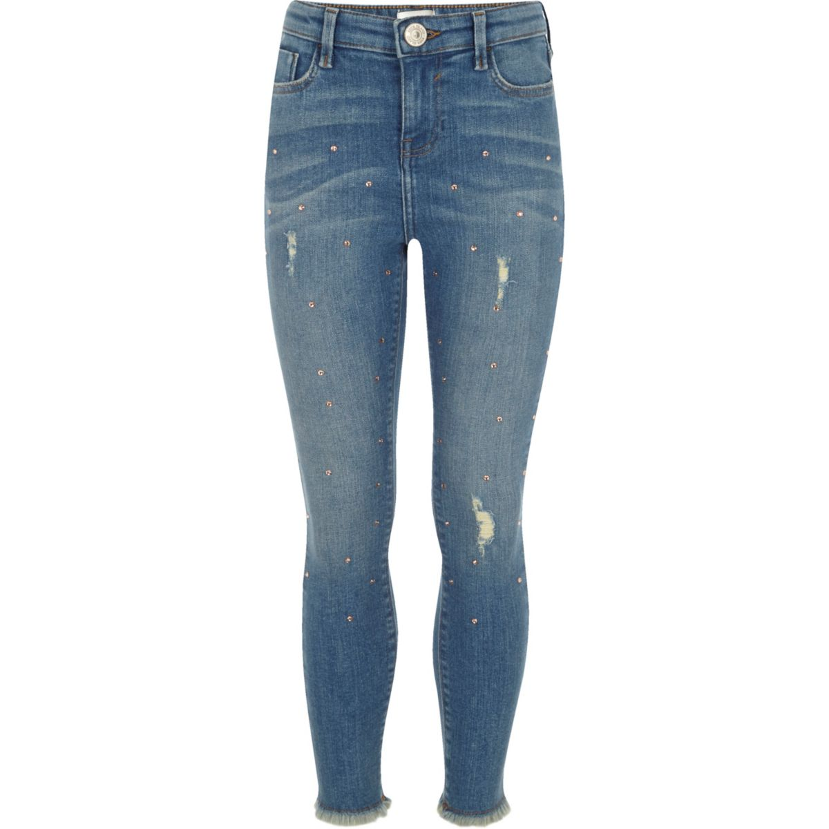 Girls blue studded skinny Amelie jeans