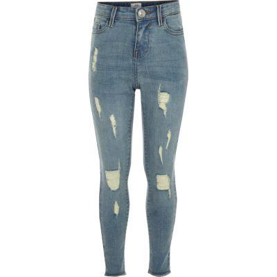 Amelie Blauwe gescheurde superskinny jeans voor meisjes