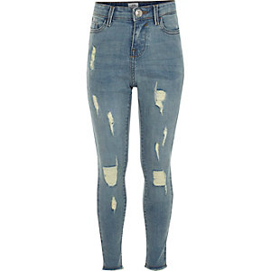 Girls blue Amelie ripped super skinny jeans