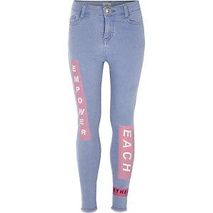 Amelie - Blauwe superskinny jeans met print voor meisjes