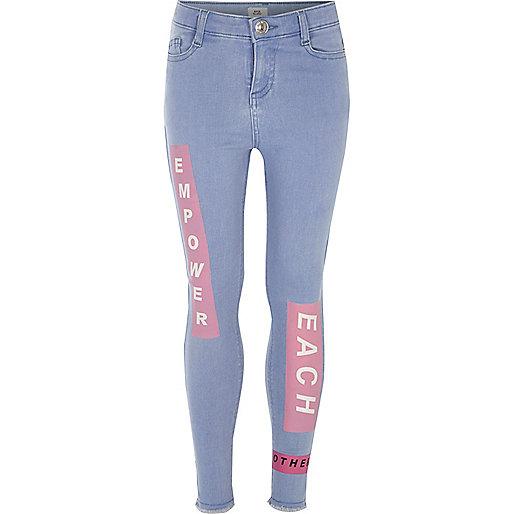 Girls blue Amelie printed super skinny jeans