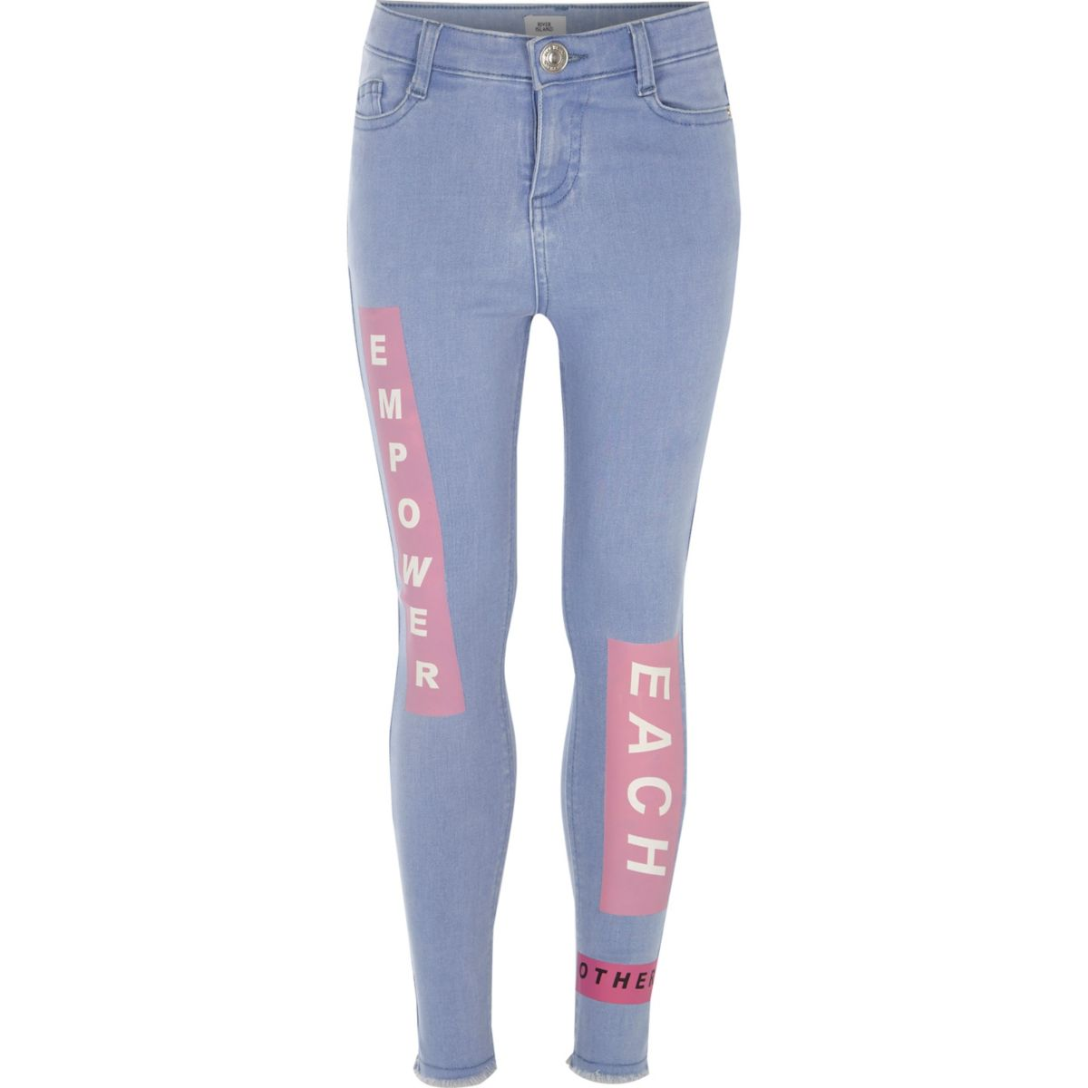 Girls blue Amelie printed super skinny jeans