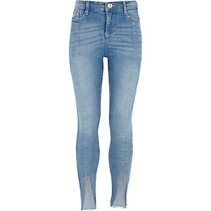 Girls mid blue split front hem skinny jeans