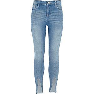 Girls mid blue split front hem skinny jeans
