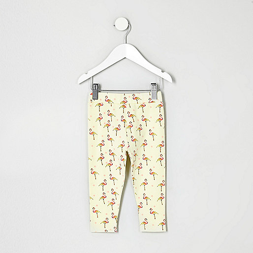 Mini girls yellow flamingo print leggings