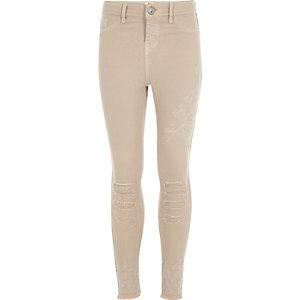 Girls beige Amelie super skinny jeans
