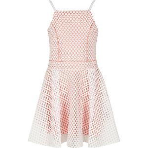 Robe de bal en tulle rose et blanc contrastants pour fille