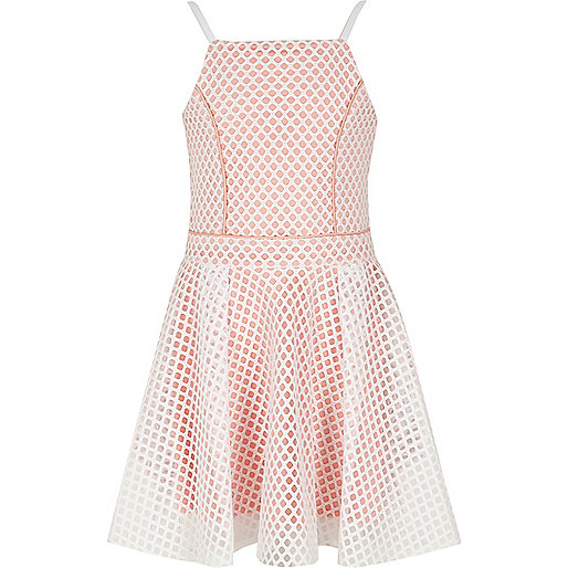 Girls white and pink contrast mesh prom dress