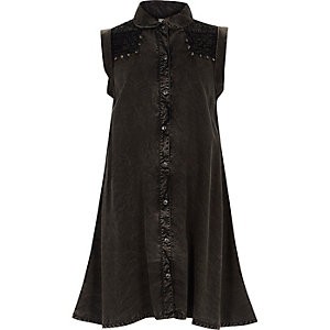 Girls black acid wash denim shirt dress