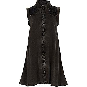 Robe chemise en jean noir délavé à l'acide pour fille