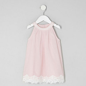Mini girls pink lace hem trapeze dress