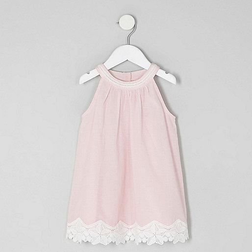 Mini girls pink lace hem trapeze dress