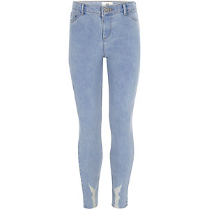Girls light blue Molly raw hem jeggings