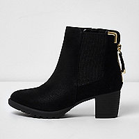 Girls black zipped block heel chelsea boots