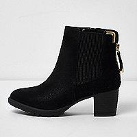 Girls black zipped block heel chelsea boots