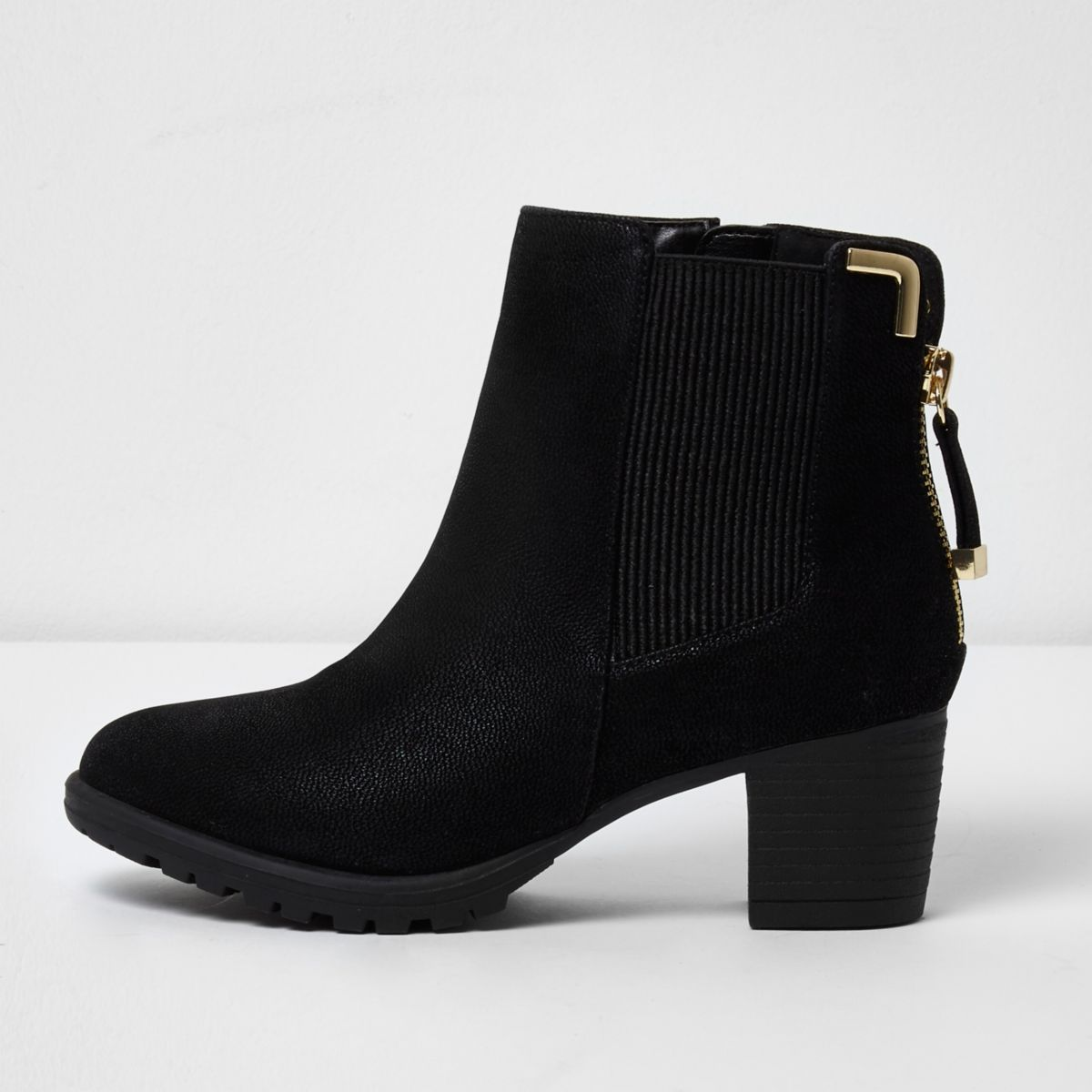 River Island Faux leather block heel shoe boots