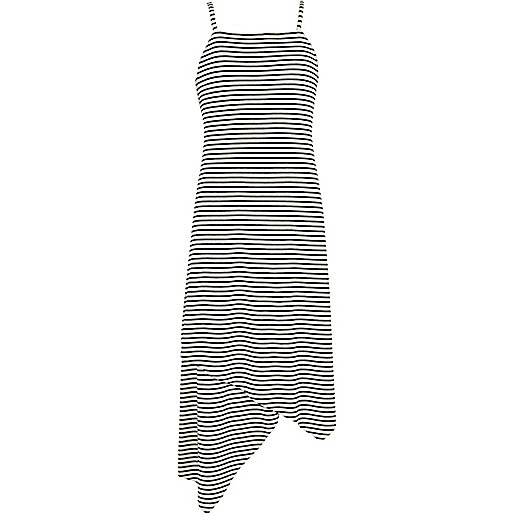 Girls white stripe maxi dress