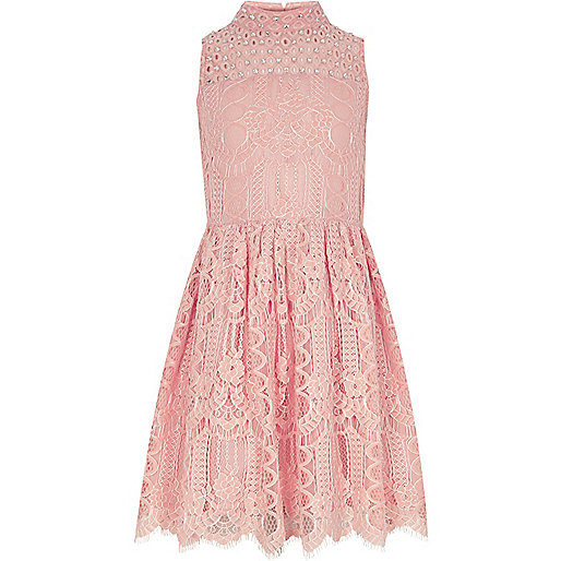 Girls coral pink lace embellished prom dress