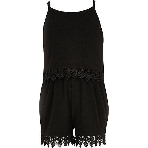 Girls black crochet double layer romper