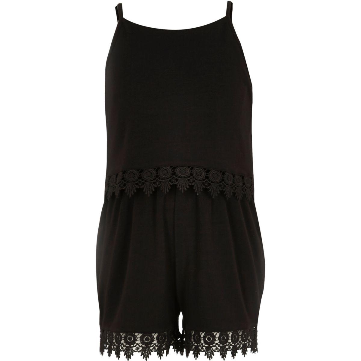 Girls black crochet double layer playsuit