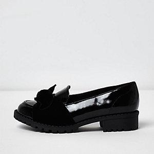 Zwarte lakleren loafers met strik voor meisjes
