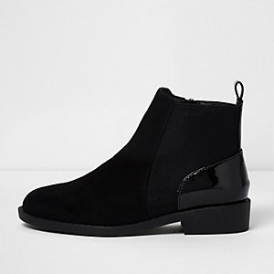 Girls black patent panel chelsea boots
