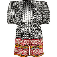 Girls black geo print bardot playsuit