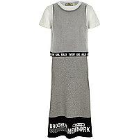 Girls grey mesh T-shirt overlay maxi dress