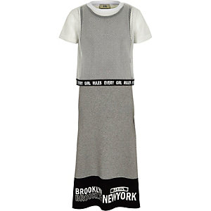 Girls grey mesh T-shirt overlay maxi dress