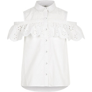 Girls white broderie cold shoulder shirt