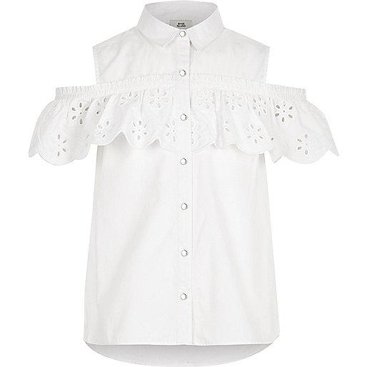 Girls white broderie cold shoulder shirt