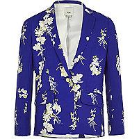 Girls blue floral long sleeve blazer
