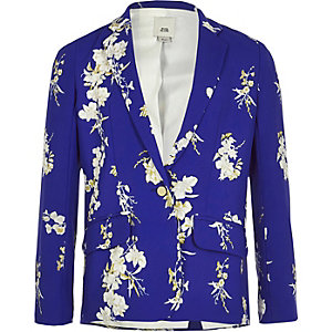 Girls blue floral long sleeve blazer