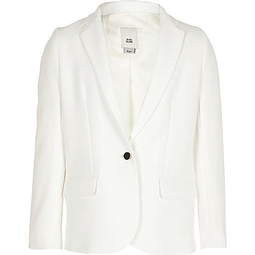 Girls white long sleeve blazer