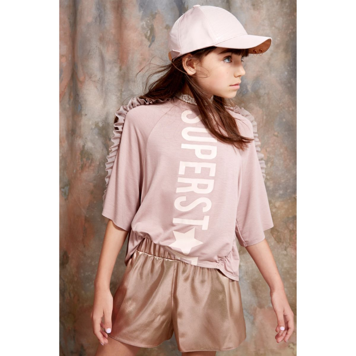 Girls RI Studio pink metallic runner shorts