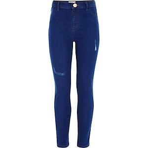 Girls blue Molly distressed jeggings